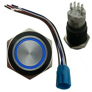 Blue LED Black Metal Latching Push Button Switch On Off 12V 16 MM Mounting