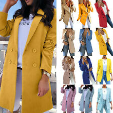Womens Trench Coat Ladies Work Office Blazer Suit Long Jacket Overcoat Outwear