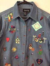 Gardy Kokopelli South Western SZ S appliqued Blue Denim Long Sleeve Shirt