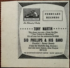 His Master's Voice Tony Martin / Sid Phillips & His Band Vintage Advert 1952