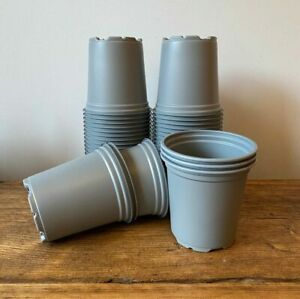 50 x 9cm Recyclable Grey Plant Pots – Full Size – Free Postage – Gardening