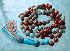 108 Mala Necklace Buddhist Prayer Bead Japa Mala Beads Red Jasper & Serpentine