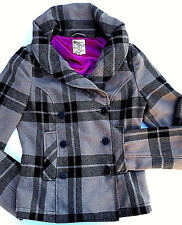 TULLE~size S~GRAY & BLACK PLAID JACKET~Double Breasted Button~Pea Coat