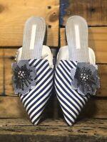 Zara Mules striped Floral Blue white Women's Sz 9
