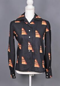 VTG Women's 70s Christian Dior Navy & Brown Button Up Blouse Sz M 1970s Shirt