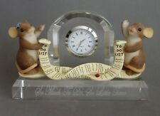 Charming Tails Crystal Clock Mouse Mice Figurine - Working - New Battery 97/140