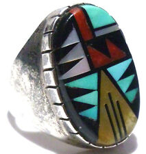 NATIVE AMERICAN STERLING SILVER MASSIVE CORAL TURQUOISE ONYX MENS SHIELD RING