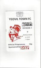 Yeovil Town v Westbury United Reserves Football Programme 1987/88