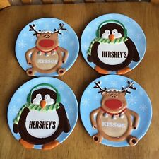 Fitz & Floyd Holiday Hershey's Kisses Tidbit Canapé Plates Penguin Reindeer Nwt