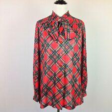 Vintage Phyllis Sidney Top Womens Medium Tie Neck Plaid