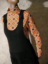 CHIC VINTAGE ROBE NOIRE JERSEY CHASUBLE 60s VTG DRESS MOD TWIGGY 1960 (36/38)