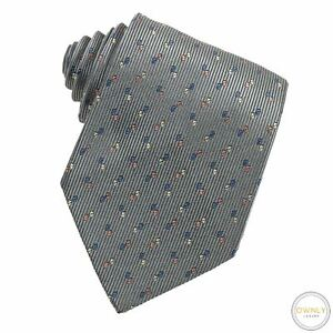 Hermes Grey 100% Silk Geometric Stacked Triangle Striped Glossy Tipped Tie