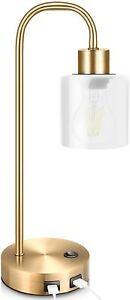 Gold Industrial Table Lamp for Bedroom, Elizabeth Vintage Bedside Lamp with USB