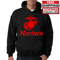 MARINES HOODIE BLACK United States Military Hooded Sweatshirt Semperfi USMC USA