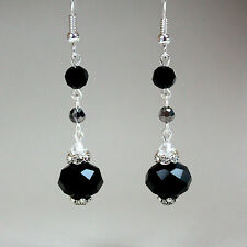 Black grey crystals vintage silver long drop dangle earrings wedding party gift