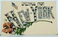 NY Greetings from New York Ladies and Babies Letters US Flag 1909 Postcard E15