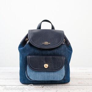 NWT Coach C4122 Mixed Denim Pennie Backpack 22 in Denim Multi