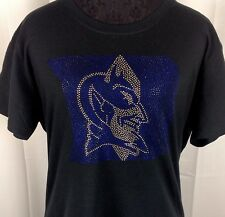 Women's Duke Blue Devils Rhinestone Basketball T Shirt Tee Bling Lady ladies