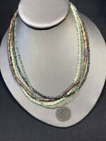 Ladies Vintage Bohemian Signed Army Green Seed Multi Strand  Necklace Boho 18""