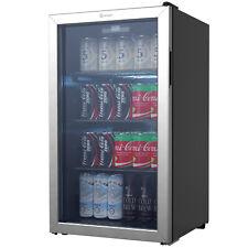 Vremi 3.6 Cubic Foot Beverage Glass Door 3 Adjustable Shelves Mini Fridge, Black