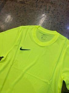NIKE Nike Park VI Dri Fit JERSEY SOCCER T-SHIRT Neon Yellow NWT SIZE SMALL