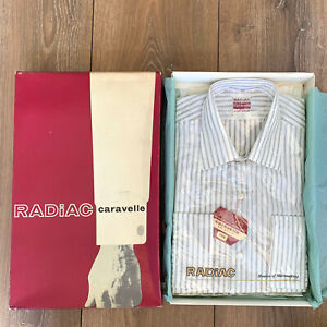 "BNIB Vintage Men's ""RADiAC"" White Striped Smart BRI-NYLON Shirt 16 inch"