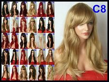 Blonde Womens Fashion Party Long Wavy Curly Full Cosplay Ladies Wig C8