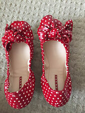 New In Bag - Prada Polka Dot Patent Leather Ballerina Flats with the Bow, size 6