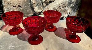4 Vtg. Noritake Perspective Ruby Red  Champagne Sherbet Dessert Glasses