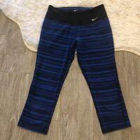 Nike Dri Fit Womens Activewear Capri Pants Blue Stripe Mid Rise Stretch XS