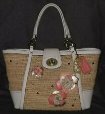 COACH 19347 Hamptons Straw White Coral Leather & Studs Shopper Med Tote Bag