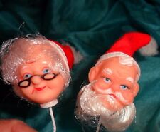 Mr. and Mrs. Claus Heads on Wire Pick Hand Painted Face