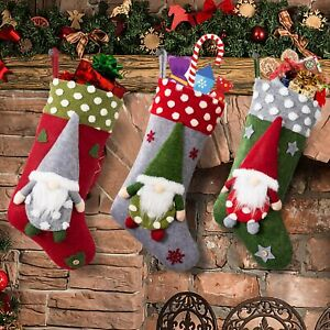 3 Pcs Christmas Stockings 18inch Large Size Christmas Stocking with 3D Plush