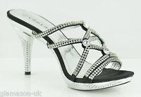 Ladies Designer High Heels Sandals Wedding Prom Party Silver Black Size 3-8