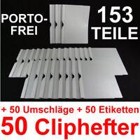 50 Cliphefter Bewerbungsmappen + 50 Umschläge + Etiketten - Weiss -  Bewerbung