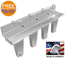"""Hand Sink Floor Mount 4 Station 96"""" Pedal Valve Wash-Up Hands Free Stainless St."""