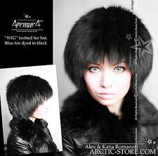 Original Russian Fur Hat Knitten Beanie Base Rare Exclusive Design Black Fox NEW