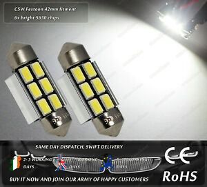 White CanBus LED SMD 42mm Festoon C5W 239 242 License Licence Plate Lights Bulbs