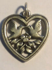 JAMES AVERY, HEART WITH TWO BIRDS CHARM, RETIRED, .925 SILVER, (20002108)