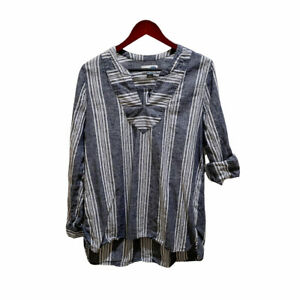 Gap Womens Long Sleeve Linen Blend Pullover Striped Blouse Size L Blue White