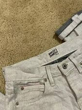 Naked & Famous Skinny Guy White black Selvedge Denim Men's Size 29 x 28