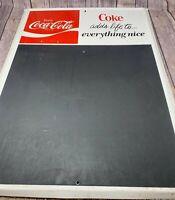 """VINTAGE COCA COLA  METAL ADVERTISING ORIGINAL SODA POP CHALKBOARD SIGN 28"""" X 20"""""""