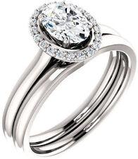 1.12 carat total Oval & round Diamond Halo Engagement Wedding 14k White Gold