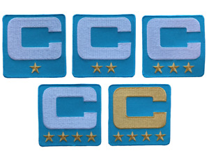 2021 Captain C Patch Light Blue w/ Gold Stars for Football Jersey Hoodie Shirt