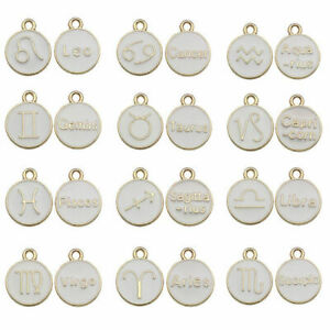 white zodiac signs Enamel charms pendants for jewellery making pack of 12 pieces