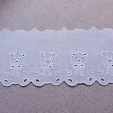 """Broderie Anglaise Bear Cotton Eyelet Lace Trim Floral 9cm(3.5"""") White 1yard"""