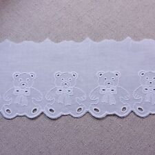 "Broderie Anglaise Little Bear Cotton Eyelet Lace Trim  9cm(3.5"") White 1yard"