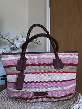 Tula by Radley woven straw and leather trim summer handbag, tote bag VGC
