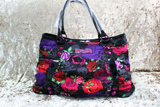 Betsey Johnson Roses & Skulls Zip it Up Pink Tote Bag
