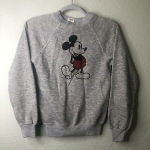 Vintage DISNEY CASUALS SWEATSHIRT '80'S MICKEY MOUSE SOFT YOUTH XL (14-16) Gray